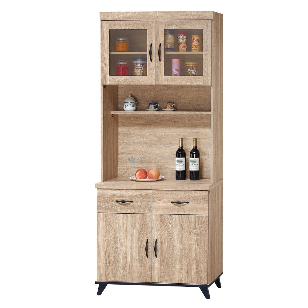 品家居 艾米堤2.7尺橡木紋餐櫃組合-81.5x40x201.5cm免組