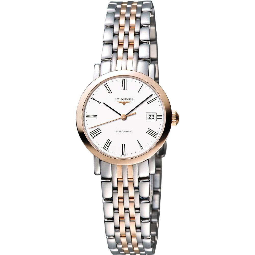 LONGINES Elegant 優雅系列羅馬機械女錶-白x雙色版/29mm L43105117