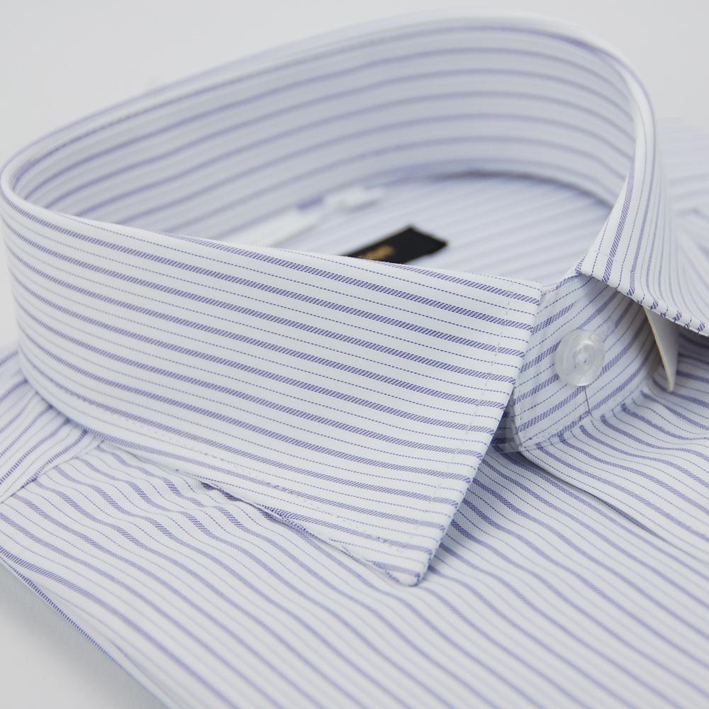 金‧安德森 白底紫條紋窄版短袖襯衫