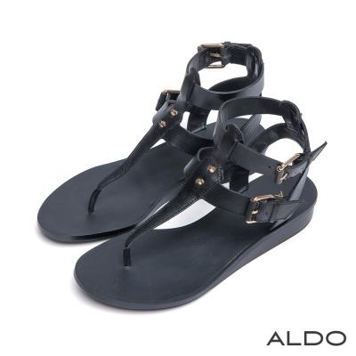 ALDO-皮革金屬鉚釘繫帶小坡跟涼鞋-尊爵黑色