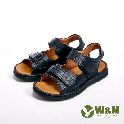 【W&M】雙帶魔鬼氈設計涼鞋 男鞋-黑(另有棕)