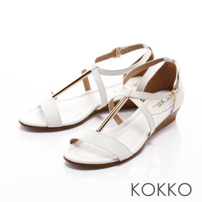 KOKKO-涼夏渡假趣交叉金屬楔型踝帶涼鞋-白