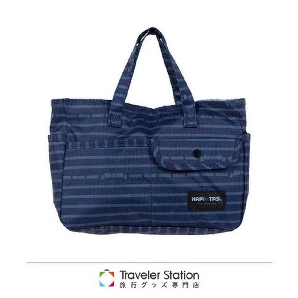 【HAPI TAS】橫條蝴蝶結袋中袋-藍色