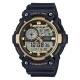 CASIO 世界地圖時間設計雙顯運動錶(AEQ-200W-9A)-黑X金框51.4mm product thumbnail 1