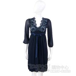 PAOLA FRANI 深藍色蕾絲繡花深V款洋裝(附綁帶)