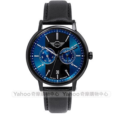 MINI Swiss Watches Cooper英倫風時尚雙環手錶-藍黑X黑帶/42mm