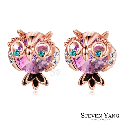 STEVEN-YANG-白K耳針式耳環-俏皮貓頭鷹-玫金A