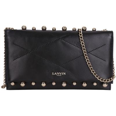 LANVIN Sugar Pearl 珍珠鉚釘菱格車縫羊皮鍊帶肩背包(黑色)