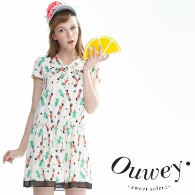 OUWEY歐薇 俏皮童趣圖紋縮腰洋裝