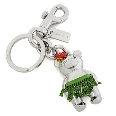 COACH夏威夷草裙舞立體小熊圓型掛式雙扣環鑰匙圈
