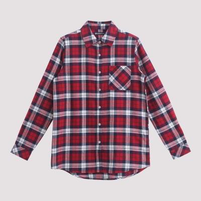 Hang Ten - 女裝 - 法蘭絨拼接口袋休閒襯衫 - 紅