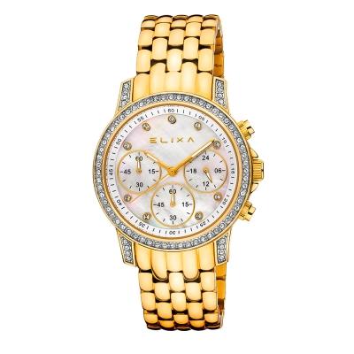 ELIXA ENJOY晶鑽金屬鋼錶系列 三眼錶盤 奢華金 36mm