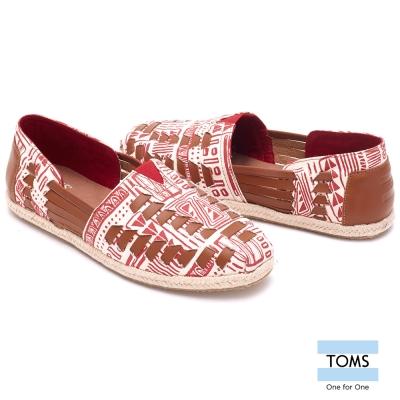 TOMS 皮繩編織懶人鞋-女款(紅)