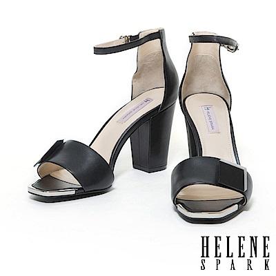 涼鞋 HELENE SPARK 簡約時尚烤漆方釦點綴美型羊皮高跟涼鞋-黑