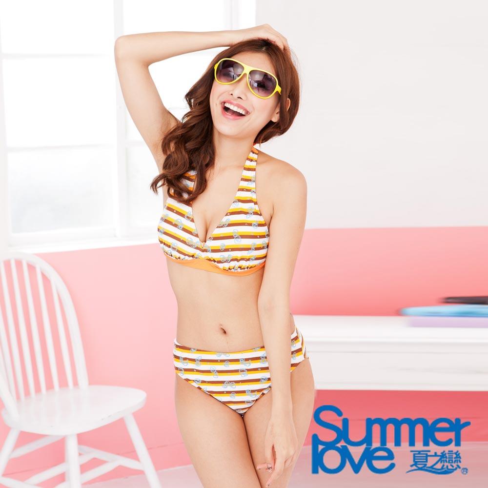 LOVETEEN夏之戀 橘色橫條比基尼二件式泳衣