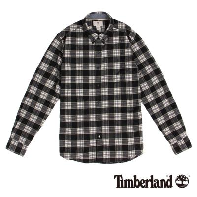 Timberland 男款黑白長袖法蘭絨格紋襯衫