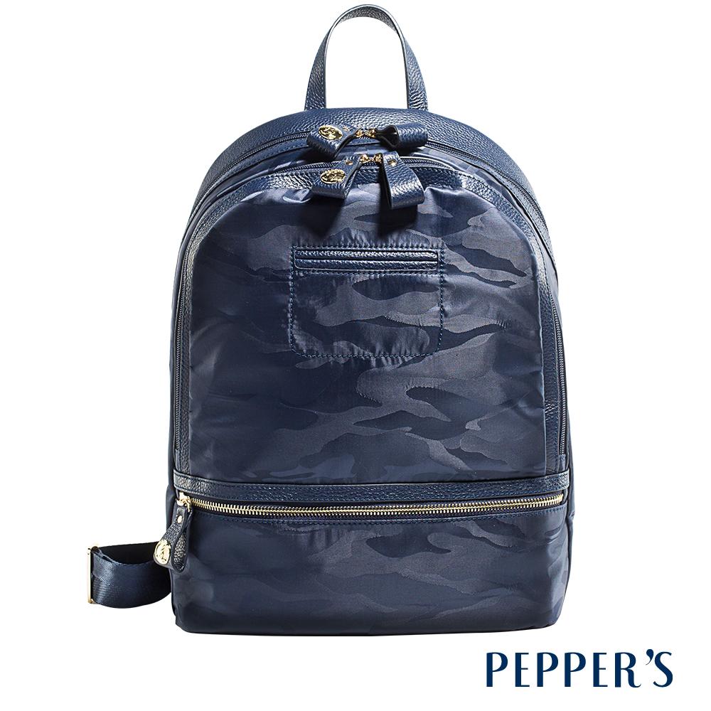 PEPPER`S  Harper 牛皮尼龍迷彩後背包 - 午夜藍