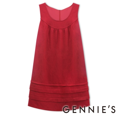 Gennies奇妮-U領層次下擺秋冬背心洋裝-G2217-紅