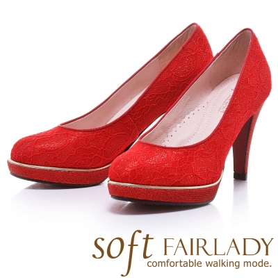 Fair Lady  Soft芯太軟  經典浪漫蕾絲高跟鞋 紅