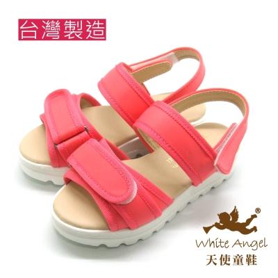 天使童鞋-J826  休閒隨性厚底涼鞋 (中-大童)-活潑桃