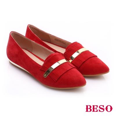 BESO 時尚核心 絨面羊皮流蘇平底鞋 紅