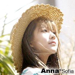 【滿額再75折】AnnaSofia 花邊鏤滾織 寬簷遮陽草帽淑女帽草帽(米杏系)