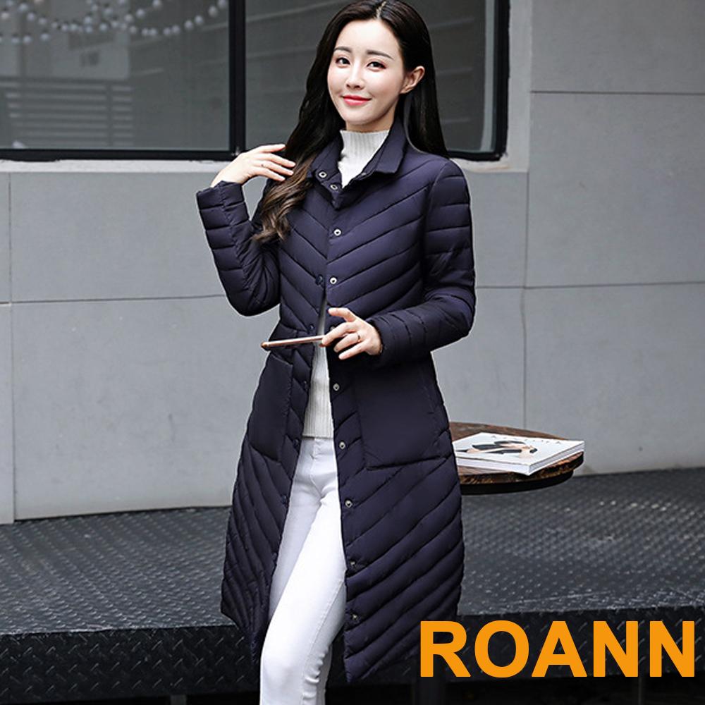 純色斜條紋長袖長款鋪棉外套 (共四色)-ROANN