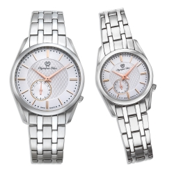 Olympia Star 奧林比亞之星經典都會系列情人對錶-白/26mm+36mm