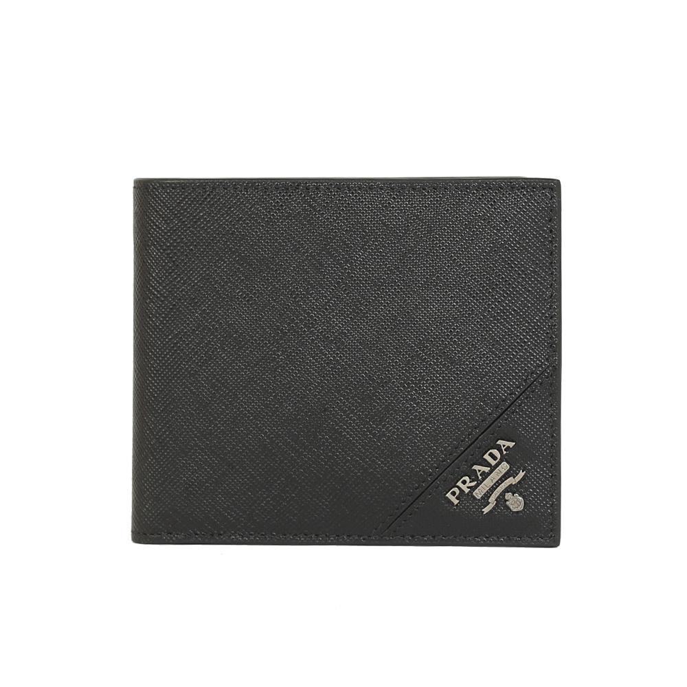 PRADA SAFFIANO 防刮皮革銀字LOGO對折八卡短夾(黑色)