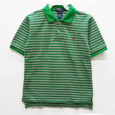 Ralph Lauren 男童經典條紋短袖POLO衫-綠色(5歲/7歲)