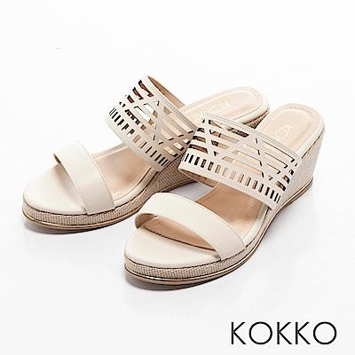 KOKKO-南國邊境真皮鏤空楔型涼拖鞋-椰奶白