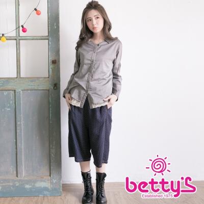 betty's貝蒂思 復古風點點七分寬褲(藍色)