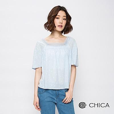 CHICA 清新品味蕾絲拼接仙人掌圖騰上衣(2色)