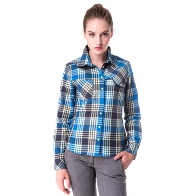 【hilltop山頂鳥】女款長袖格子保暖襯衫C05F15藍