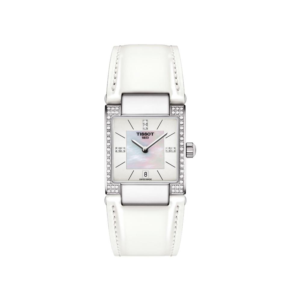 TISSOT 天梭 T02 時尚真鑽女錶-珍珠貝x白/23mm