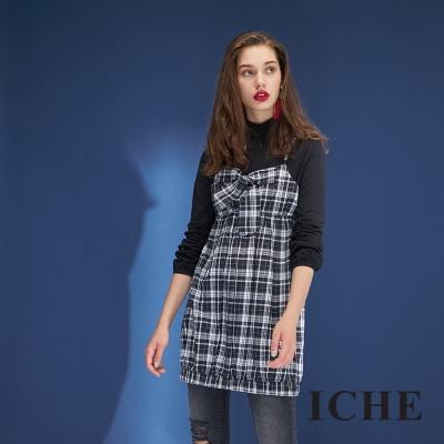 Hana+花木馬 清新風馬甲式拼接高領格紋印花長袖造型洋裝(三色)-黑
