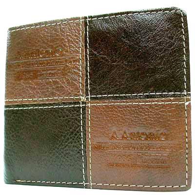 【Miyo皮夾】A.Antonio牛皮品牌拚接短夾