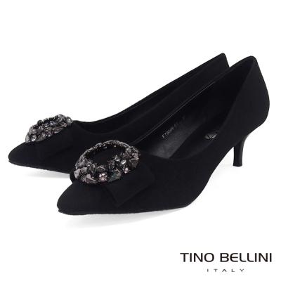 Tino Bellini 奢華鑲嵌鑽飾中跟鞋_ 黑