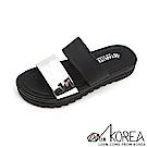 【AIRKOREA】韓國空運樂活夏日撞色柔軟雙帶美腿休閒涼鞋拖鞋 黑