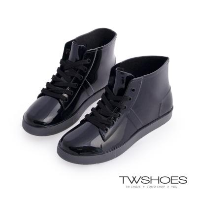 TW Shoes簡約綁帶防水防滑底雨鞋-黑
