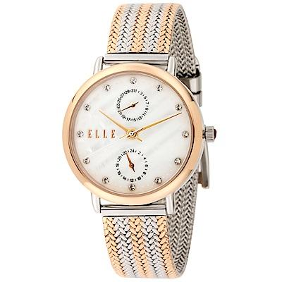 ELLE 編織璀鑽不鏽鋼腕錶-玫瑰金X銀/32mm
