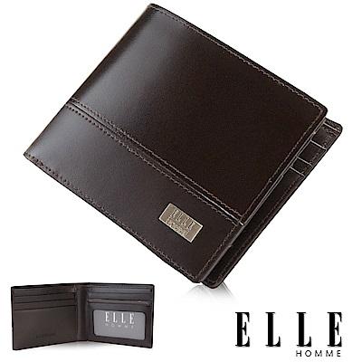 福利品 ELLE  法式精品嚴選義大利牛皮 證件/名片多格層設計短夾- 咖啡色