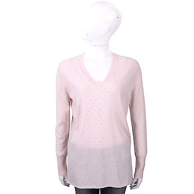 ALLUDE 喀什米爾粉色星空鑽飾V領針織羊毛衫