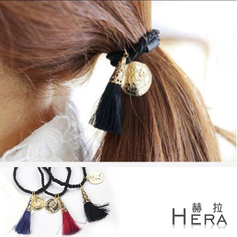 Hera 赫拉 流蘇硬幣麻花編織髮圈/髮束-3色