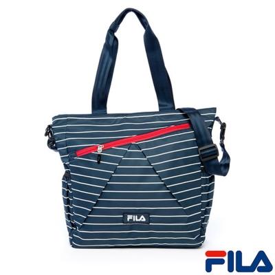 FILA雅緻條紋托特包(海軍藍)BMR-1403-NV