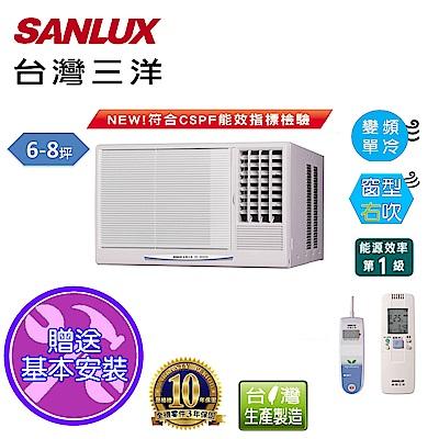 台灣三洋SANLUX 6-8坪窗型變頻冷氣右吹SA-R41VE1