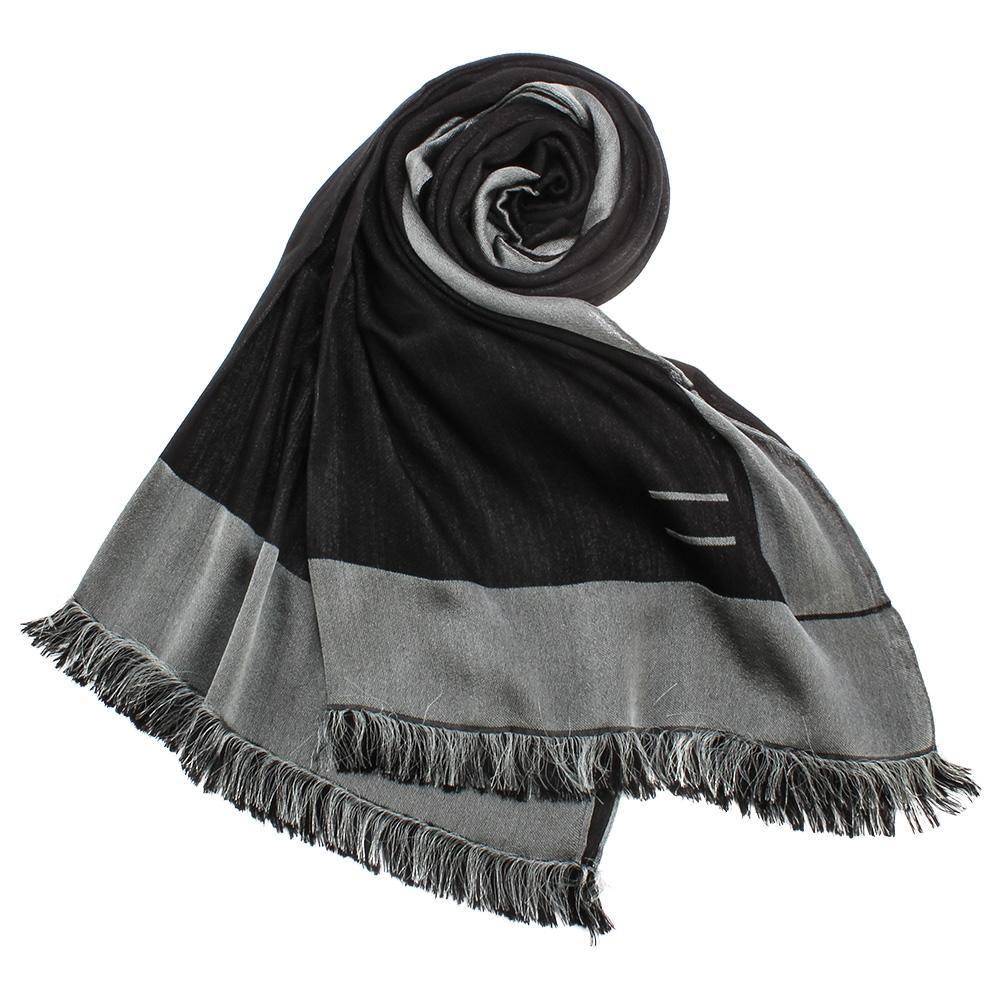 ARMANI COLLEZIONI 素面撞色混桑蠶絲披肩圍巾-黑色