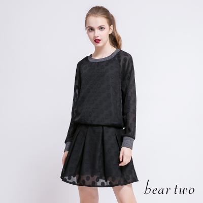 beartwo 透膚感圓點拼接造型上衣(黑色)