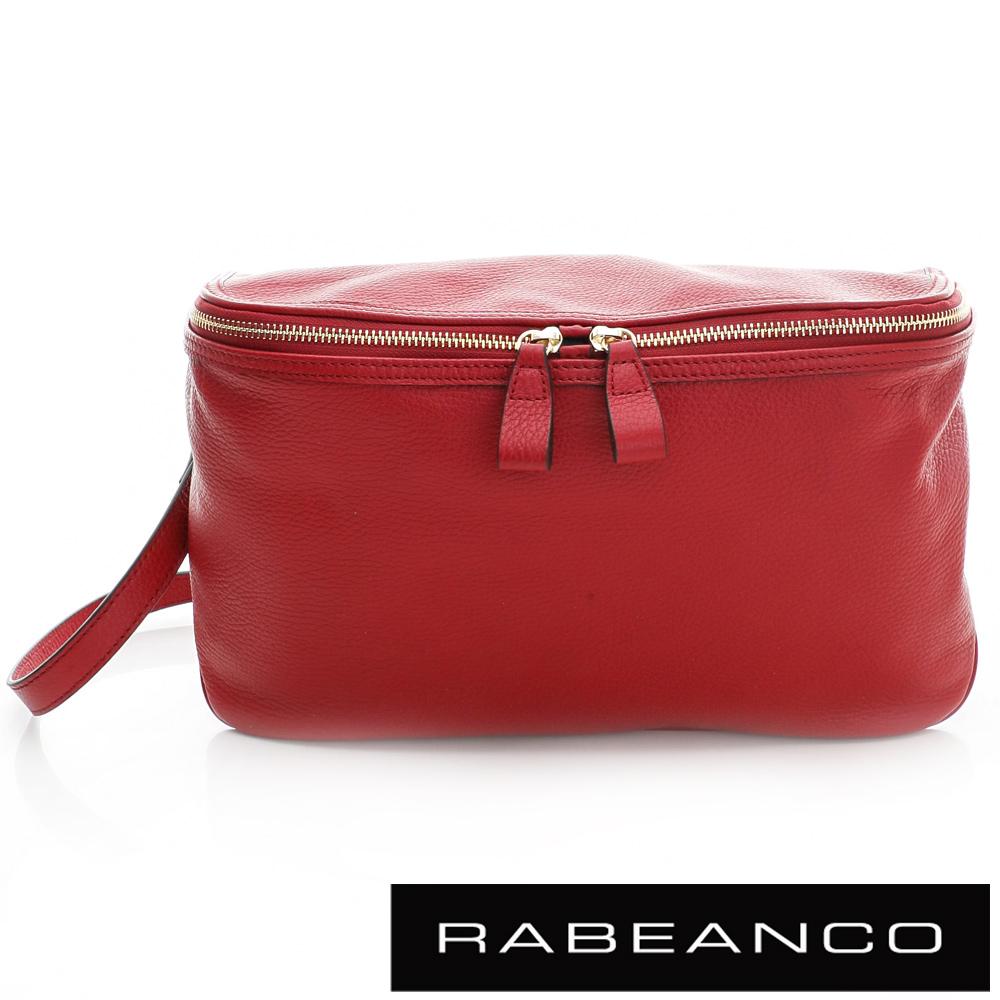 RABEANCO 迷時尚系列荔枝紋牛皮立體三角包 紅