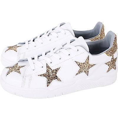Chiara Ferragni Roger 星型金色亮片綁帶運動鞋(白色)